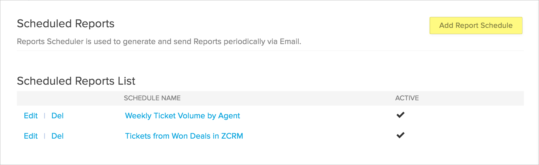 scheduling reports zoho desk knowledgebase