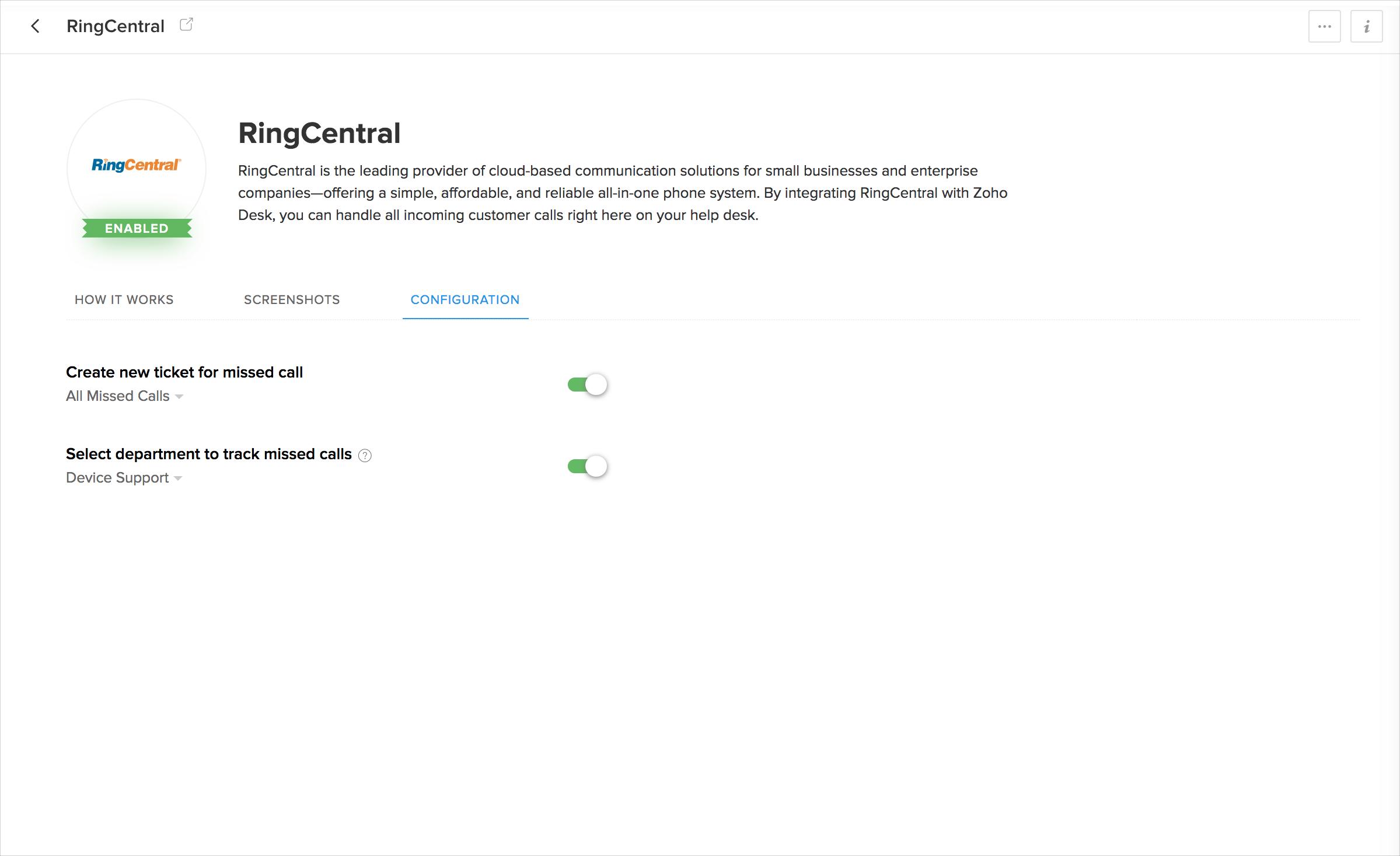 RingCentral Integration - Zoho Desk Knowledgebase