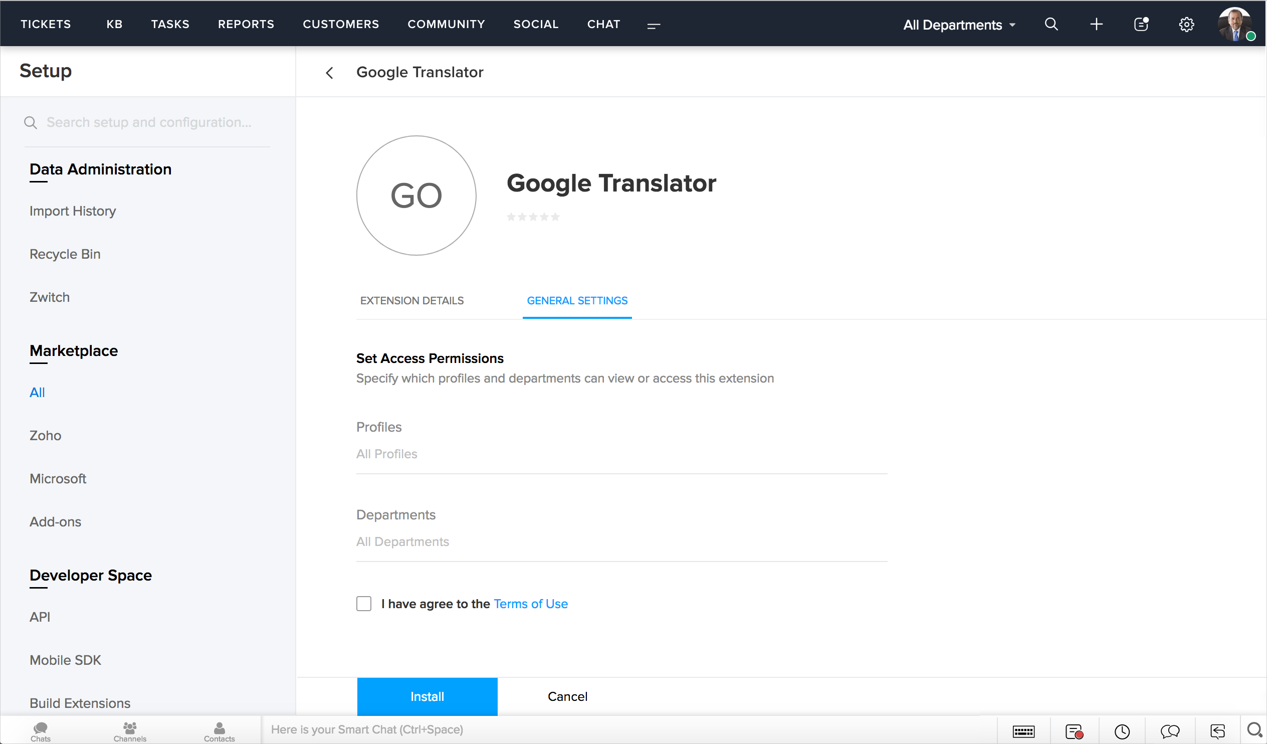 Translate Tickets using Google Translate - Zoho Desk Knowledgebase